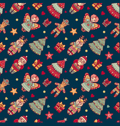 merry christmas pattern with christmas toys vector image