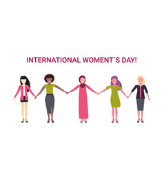 Mix race women group holding hands international vector