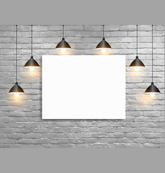 mock up poster with ceiling lamps white brick vector image