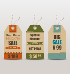 Old retro vintage tag cards for sale vector
