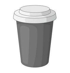 Paper cup of coffee icon monochrome vector