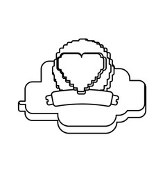 pixelated heart shape vector image
