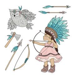 Pocahontas owl american indian girl vector
