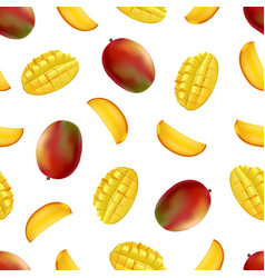 realistic detailed fruit mango seamless pattern vector image