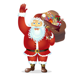 santa claus cartoon waving her hand cartoon vector image
