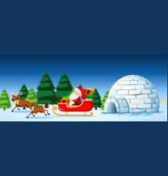 Santa on sleigh scene vector
