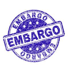 Scratched textured embargo stamp seal vector