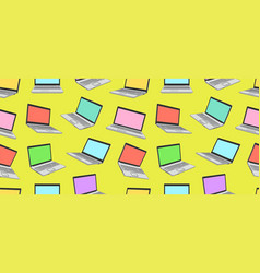 seamless pattern of colorful laptop vector image
