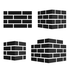 Set bricks icons bricks logo isolated on white vector