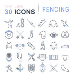 Set line icons fencing vector