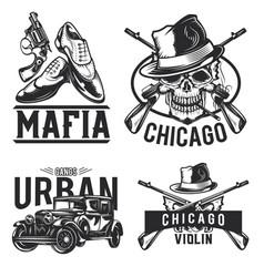 Set mafia emblems labels badges logos isolated vector