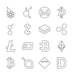 set of crypto currency logo coins bitshares vector image