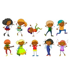 Set of kids singing and dancing vector