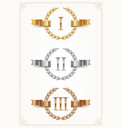 Set of rank emblems - gold silver bronze vector