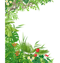 Side border with tropical plants vector