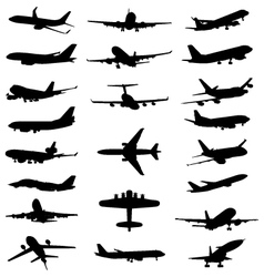 silhouettes aircrafts vector image