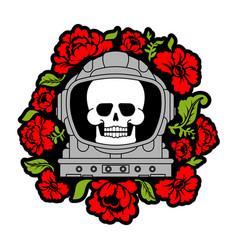 Skull in astronaut helmet and flowers death vector