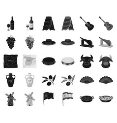 Spain country blackmonochrome icons in set vector