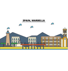 spain marbella city skyline architecture vector image