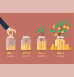 Step hand saving coins in glass jars with vector