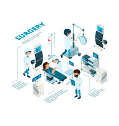 Surgeries isometric medical staff surgeons work vector