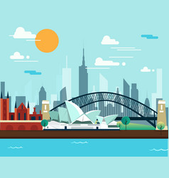 sydney opera house and bridge for traveling vector image