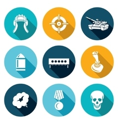 Tank shooting Icons Set vector image