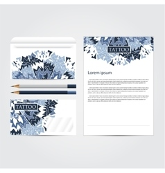 Tattoo salon corporate identity template set vector image