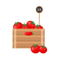 tomato in wooden grate vector image