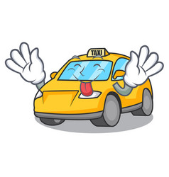 Tongue out taxi character mascot style vector