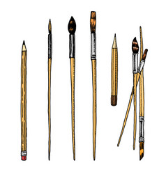 tools and materials artist for drawing vector image