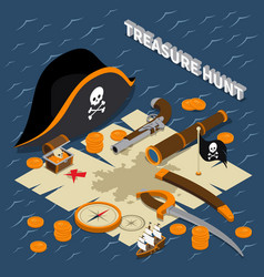 Treasure hunt isometric composition vector
