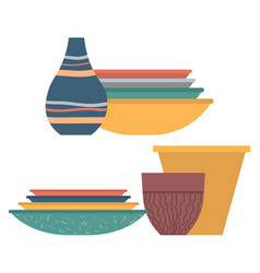 vase and plate bowl and pot tableware vector image