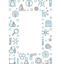 vertical frame with chemistry outline icons vector image