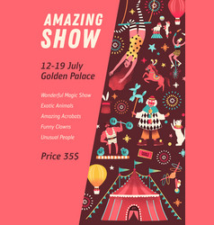 Vertical poster for circus show with a place vector
