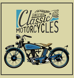 vintage motorcycle in color eps old vector image