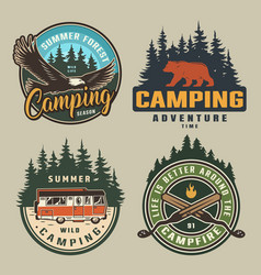 Vintage summer camping colorful badges vector