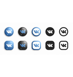 vkontakte modern 3d and flat icons set vector image