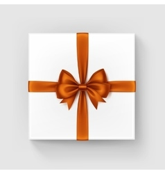 White Gift Box with Orange Satin Bow and Ribbon vector
