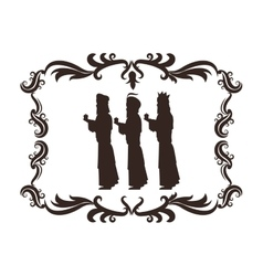 Wise man holy family christmas design vector