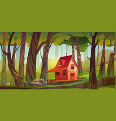 wooden house in forest or garden vector image