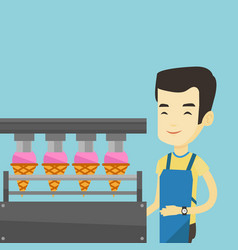 worker of factory producing ice-cream vector image