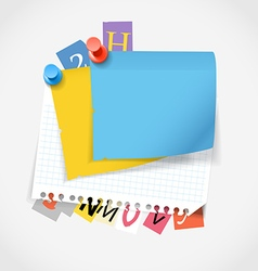 Blank paper stickers and color paper letters vector