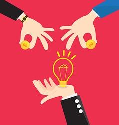 Bulb light in Hand change Money vector image vector image