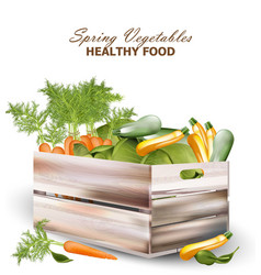 healthy vegetables in a wooden box vector image vector image