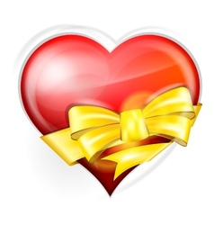 heart with gold bow vector image