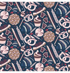 Seamless pattern for bakery theme with breadloaf vector image vector image