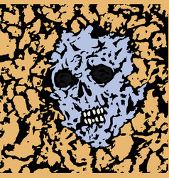 skull is seen from under the ground vector image