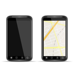 smart phone with map vector image