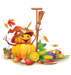 Still life of autumn harvest with a figure of vector image vector image